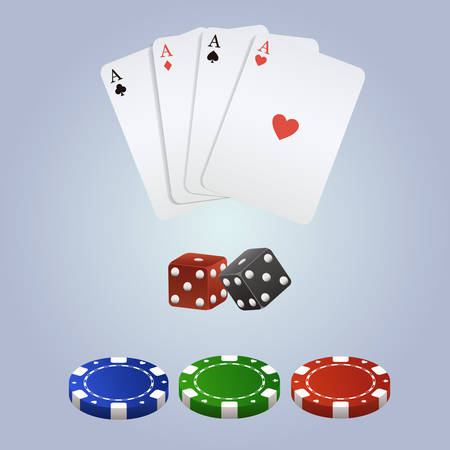 double the chances: Vector poker set with playing cards, dices and chips Illustration