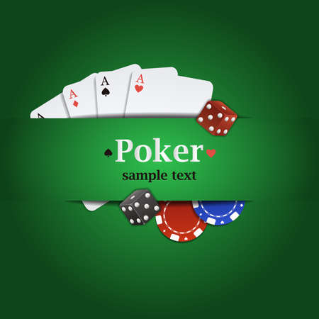 poker card: Vector poker background with playing cards, chips and dices Illustration