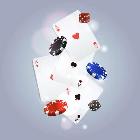 fichas casino: Vector de fondo de póquer con las cartas, fichas y los dados