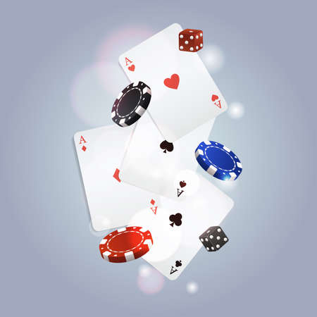 casino chips: Vector poker background with playing cards, chips and dices Illustration