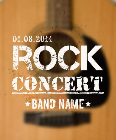 Vector blurred background with acoustic guitar. Rock concert design template with watercolor splatter and place for text. Vector