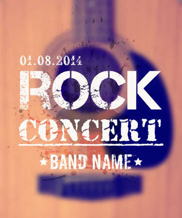 live entertainment: Vector blurred background with acoustic guitar. Rock concert design template with watercolor splatter and place for text. Illustration