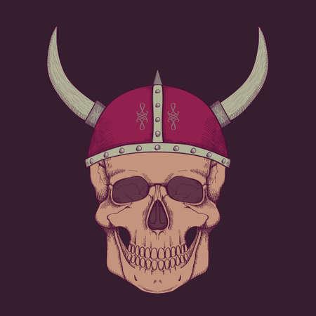 Vector illustration with human skull wearing viking helmet Vector