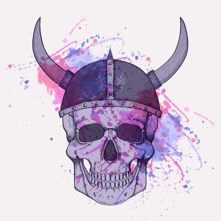 Vector illustration with watercolor splash and human skull wearing viking helmet Vector