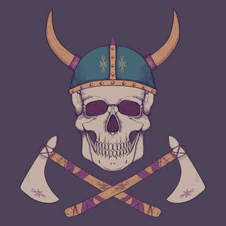 Vector illustration with axes and human skull wearing viking helmet Vector
