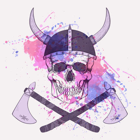 Vector illustration with watercolor splash, axes and human skull wearing viking helmet Vector