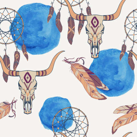 indian buffalo: Vector seamless pattern with dream catcher, bull skull, feathers and watercolor element Illustration