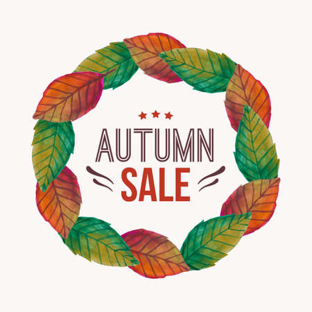 Vector illustration with autumn leaves frame and typography text Autumn sale  Vector