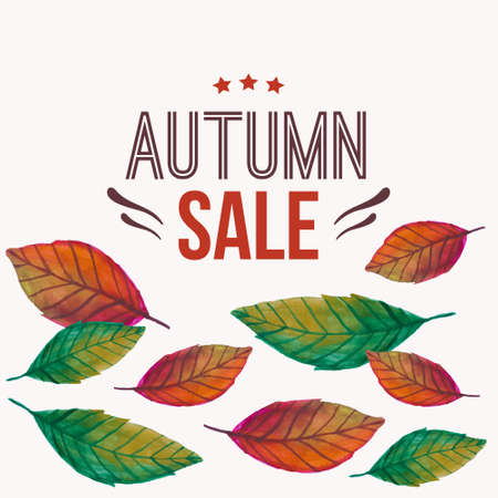 Vector illustration with autumn leaves and typography text Autumn sale  Vector