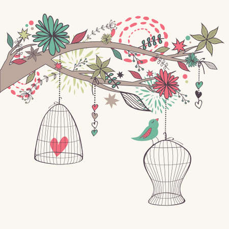 Vector romantic illustration with bird out of cages, branch and flowers. Freedom concept card. Vector