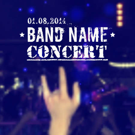 unfocused: Vector blurred background with rock stage and crowd. Rock concert design template with hand and place for text.
