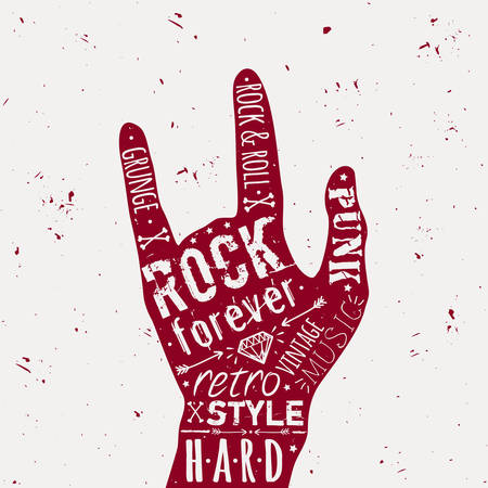 rock hand: Vector vintage hand label with diamond, bones, arrows, stars and typography elements. Rock and roll style.