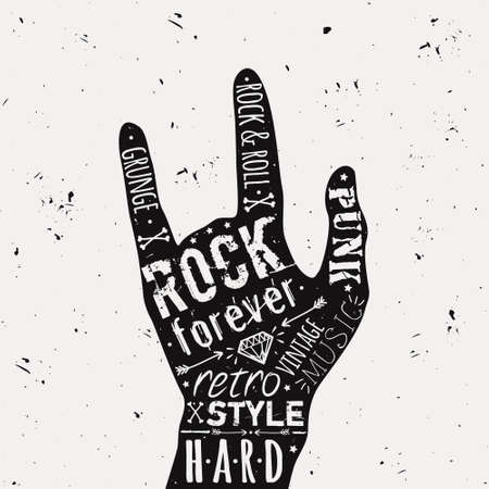 hard core: Vector vintage hand label with diamond, bones, arrows, stars and typography elements. Rock and roll style.