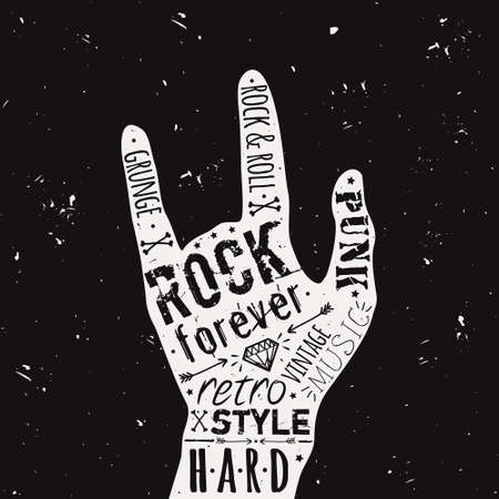 Vector vintage hand label with diamond, bones, arrows, stars and typography elements. Rock and roll style.