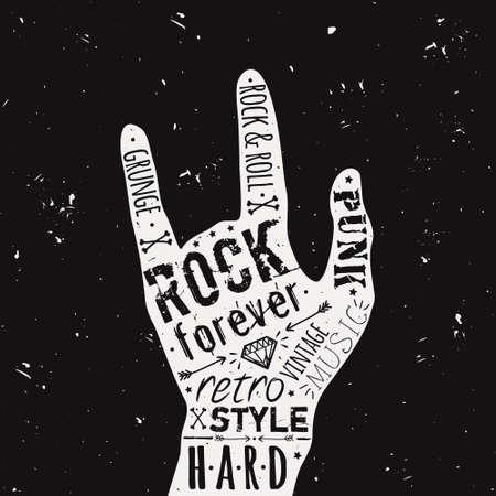 Vector vintage hand label met diamant, botten, pijlen, sterren en typografie elementen. Rock and roll stijl. Stockfoto - 31289375