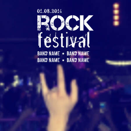 subculture: Vector blurred background with rock stage and crowd. Rock concert design template with hand and place for text.