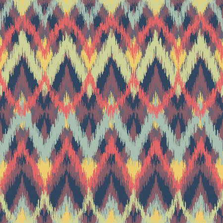 Vector seamless ikat ethnic pattern Vector