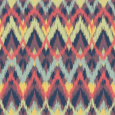 Vector seamless ikat ethnic pattern Vector