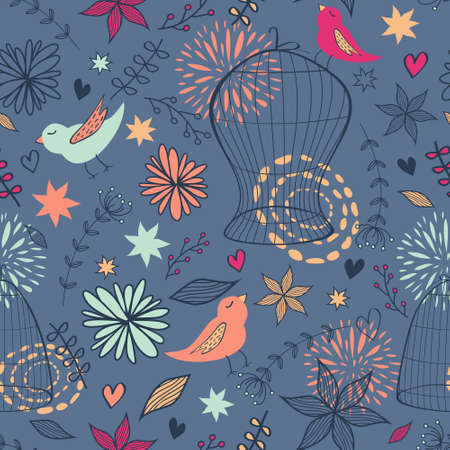 Vector cute seamless floral pattern with birds, cages, flowers, leaves and hearts. Can be used for scrapbooking, wallpapers, pattern fills, web page backgrounds, surface textures. Vector