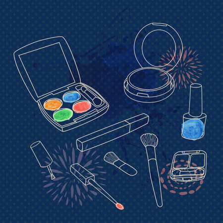 Vector make up set with brushes, eyeshadow palette, face powder, nail polish and watercolor splash. Vector