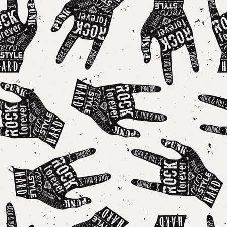 Vector seamless grunge pattern with vintage hand labels, diamonds, bones, arrows, stars and typography elements. Rock and roll style. Vector