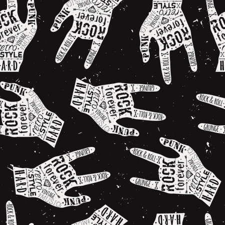 hard core: Vector seamless grunge pattern with vintage hand labels, diamonds, bones, arrows, stars and typography elements. Rock and roll style. Illustration