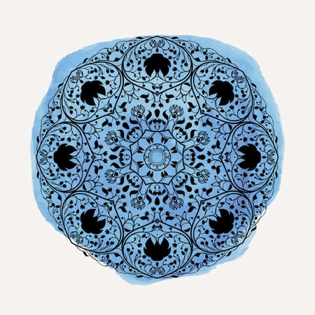 Vector illustration of round floral ornament with watercolor splash Vector