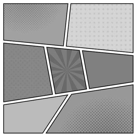 historietas: Vector el modelo blanco y negro de la página del cómic retro con los rayos, estrellas, puntos, fondo de medios tonos