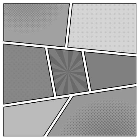 Vector black and white template of retro comic book page with rays, stars, dots, halftone background Illustration