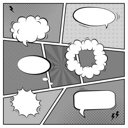 Vector black and white template of retro comic book page with various speech bubbles, rays, stars, dots, halftone background Vector