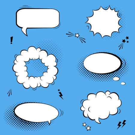 Vector set with comic speech bubbles, stars and halftone shadows Vector