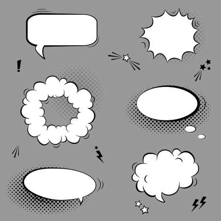 boom box: Vector black and white set with comic speech bubbles, stars and halftone shadows Illustration
