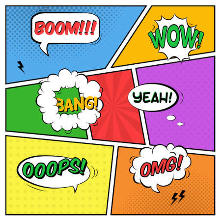 Vector colorful template of comic book page with various speech bubbles, rays, stars, dots, halftone background Vectores