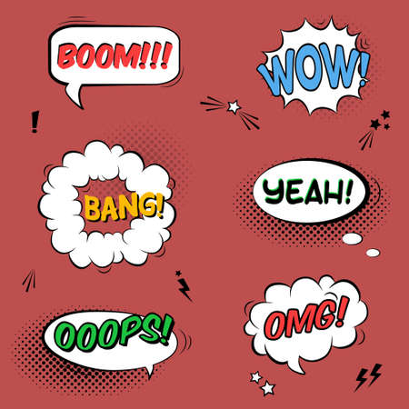 comic bubble: Vector set with comic speech bubbles with sound effects, stars and halftone shadows Illustration