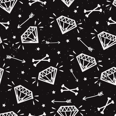 Vector seamless grunge pattern with vintage diamonds, bones, arrows and stars. Rock and roll style. Illustration