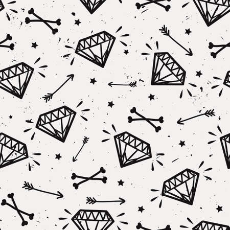 Vector seamless grunge pattern with vintage diamonds, bones, arrows and stars. Rock and roll style. Vector