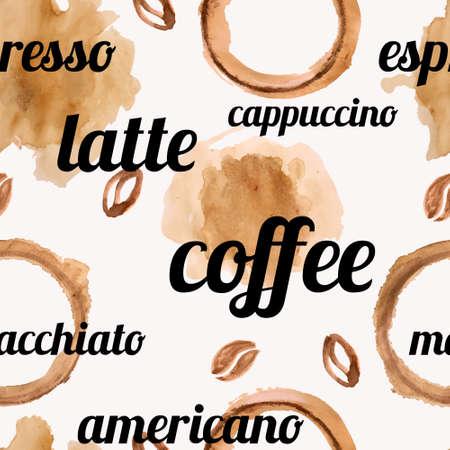cappucino: Vector naadloze patroon met waterverf koffie bonen, koffie vlekken en spatten