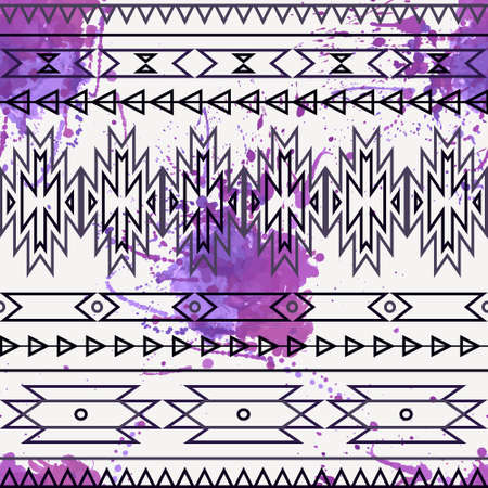 Vector seamless decorative ethnic pattern with watercolor splash