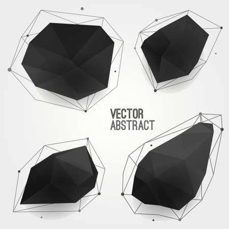 set shape: Vector set of abstract modern black crystal shapes with lines and circles. Can be used as labels, bubbles for website, infographic, banner.