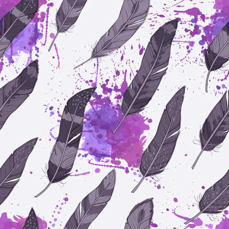 Vector seamless pattern with feathers and watercolor splashes Иллюстрация