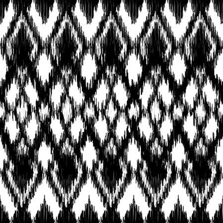 tribal pattern: Vector seamless black and white ikat ethnic pattern