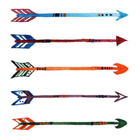 Vector set of grunge watercolor ethnic arrows