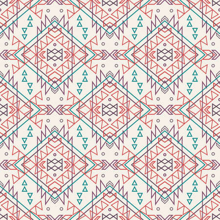 cherokee: Vector seamless decorative ethnic pattern. American indian motifs. Background with aztec tribal ornament.