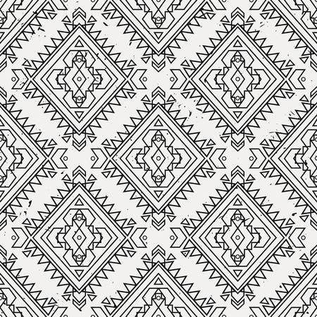 indische muster: Vector grunge dekorative nahtlose ethnische Muster. Indianisch Motiven. Hintergrund mit aztec Stammes-Ornament. Illustration