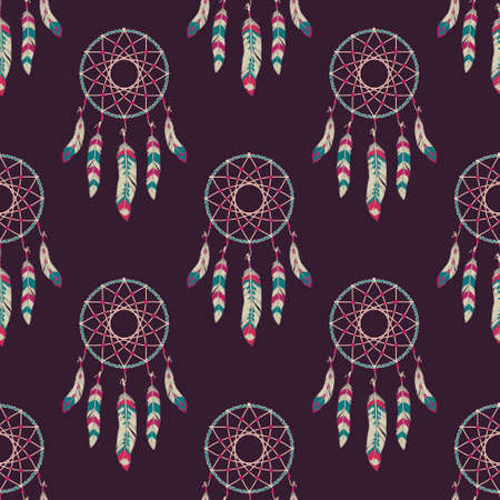 cherokee: Vector seamless pattern with dream catchers
