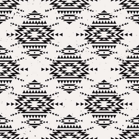 cherokee: Vector grunge monochrome seamless decorative ethnic pattern. American indian motifs. Background with aztec tribal ornament.