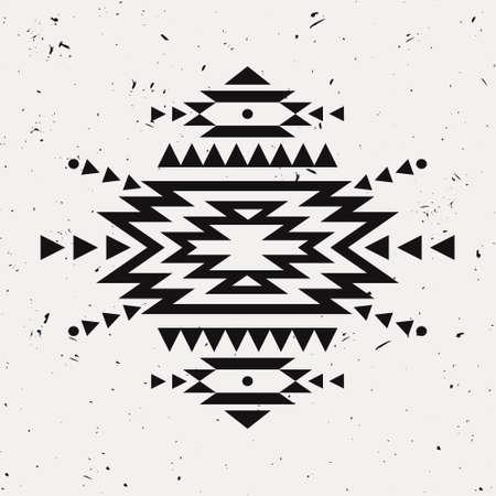 background motif: Vector grunge monochrome decorative ethnic pattern. American indian motifs. Background with black aztec tribal ornament. Illustration