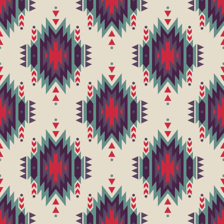 Vector seamless decorative ethnic pattern. American indian motifs. Background with aztec tribal ornament.