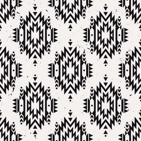 Vector grunge monochrome seamless decorative ethnic pattern. American indian motifs. Background with aztec tribal ornament.