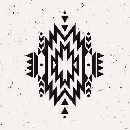 indische muster: Vector Grunge Monochrom dekorativ ethnische Muster. Indianisch Motive. Hintergrund mit schwarzen tribal aztec Ornament. Illustration
